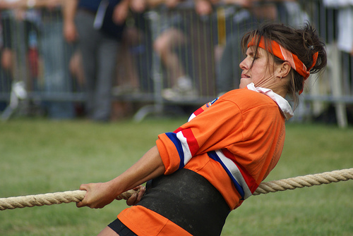 woman in tug of war